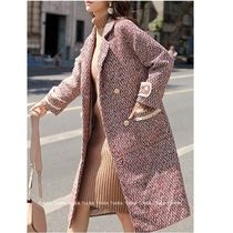 Casual Style Tweed Plain Long Office Style Chester Coats