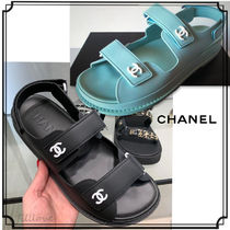 CHANEL Open Toe Casual Style Blended Fabrics Plain Handmade