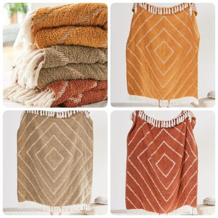 Urban Outfitters Unisex Street Style Fringes Oversized Throws