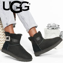 UGG Australia MINI BAILEY BOW Casual Style Sheepskin Plain Mid Heel Boots