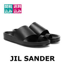 Jil Sander Round Toe Casual Style Unisex Street Style Plain Leather