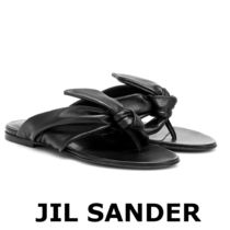 Jil Sander Round Toe Casual Style Street Style Plain Leather