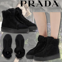 PRADA Rubber Sole Suede Plain Shearling Logo Ankle & Booties Boots