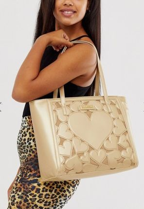 Heart Faux Fur Studded Logo Totes