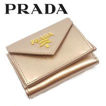 PRADA Unisex Calfskin Plain Leather Folding Wallets