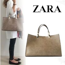 ZARA Casual Style 2WAY Office Style Elegant Style Totes