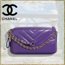 CHANEL ICON Calfskin Chain Plain Handmade Party Style Elegant Style