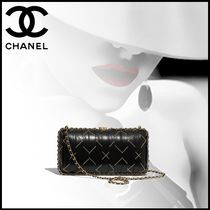 CHANEL Calfskin Chain Party Style Elegant Style Party Bags
