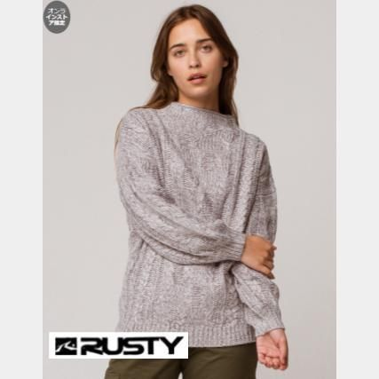 RUSTY Crew Neck Casual Style Long Sleeves V-neck & Crew neck