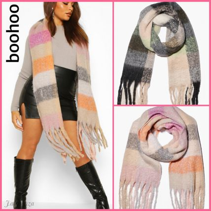 Other Check Patterns Street Style Heavy Scarves & Shawls