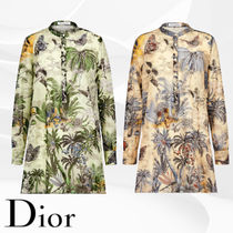 Christian Dior Tropical Patterns Long Sleeves Cotton Long Elegant Style