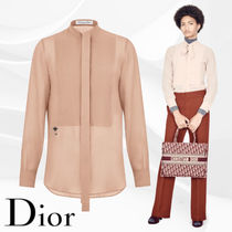 Christian Dior Silk Long Sleeves Lace Elegant Style Shirts & Blouses