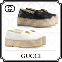 GUCCI Platform Casual Style Leather Espadrille Shoes
