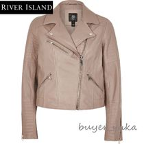 River Island Plain Leather Medium Biker Jackets