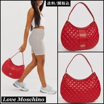 Love Moschino Faux Fur Plain Shoulder Bags