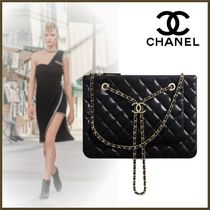 CHANEL Lambskin 2WAY Chain Plain Party Style Elegant Style Clutches