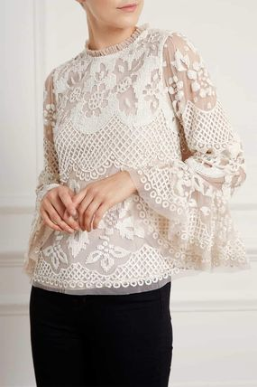 Short Flower Patterns Puff Sleeves Cropped