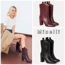 minelli Casual Style Leather High Heel Boots