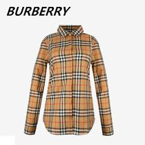 Burberry Street Style Long Sleeves Plain Polo Shirts