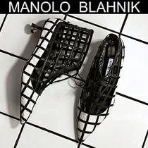 Manolo Blahnik Other Check Patterns Casual Style Suede Blended Fabrics