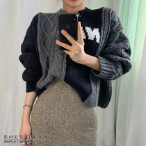 Cable Knit Casual Style Long Sleeves Medium Knitwear