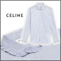 CELINE Stripes Long Sleeves Cotton Elegant Style Front Button