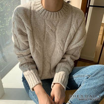 Cable Knit Casual Style Wool Nylon Long Sleeves Medium