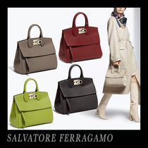 Salvatore Ferragamo Calfskin Studded 2WAY Plain Office Style Elegant Style