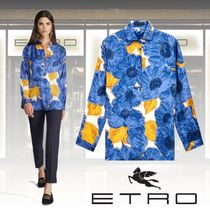 ETRO Flower Patterns Long Sleeves Elegant Style Shirts & Blouses