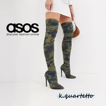 ASOS Camouflage Casual Style Pin Heels Over-the-Knee Boots