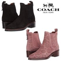 Coach Flower Patterns Round Toe Casual Style Leather Block Heels