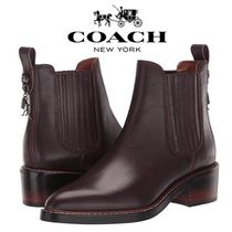 Coach Round Toe Casual Style Leather Block Heels Chelsea Boots