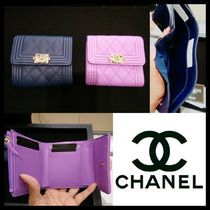 CHANEL BOY CHANEL Calfskin Leather Folding Wallets