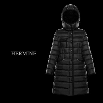 MONCLER HERMINE Street Style Long Logo Down Jackets