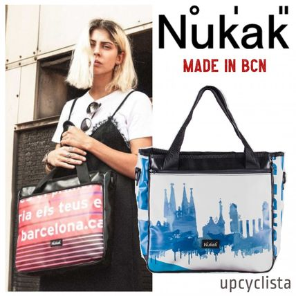 Casual Style Unisex A4 2WAY Handmade Totes