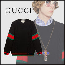 GUCCI Crew Neck Cable Knit Unisex Wool Street Style V-Neck