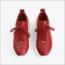 Uterque Platform Lace-up Casual Style Studded Plain Leather