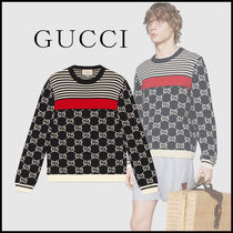 GUCCI Crew Neck Cable Knit Stripes Unisex Street Style