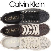 Calvin Klein Monogram Round Toe Rubber Sole Lace-up Casual Style