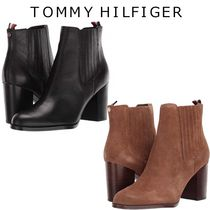 Tommy Hilfiger Casual Style Suede Plain Leather Block Heels Elegant Style