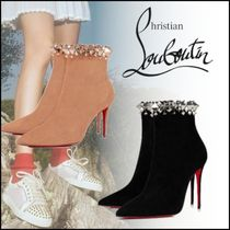 Christian Louboutin Blended Fabrics Plain Pin Heels Ankle & Booties Boots