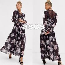 ASOS Flower Patterns Casual Style Chiffon Flared V-Neck