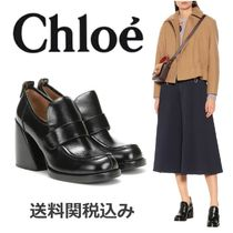 Chloe Platform Plain Leather Platform Pumps & Mules