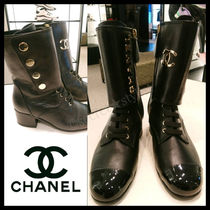 CHANEL Casual Style Leather Block Heels Elegant Style