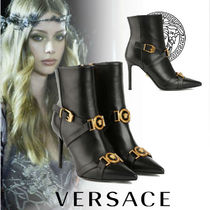 VERSACE Casual Style Plain Leather Pin Heels Elegant Style