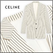 CELINE Stripes Wool Elegant Style Front Button Jackets