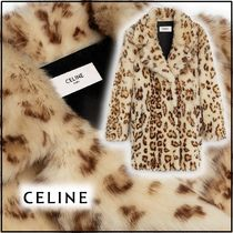 CELINE Leopard Patterns Long Elegant Style Shearling Front Button