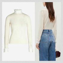 sandro Casual Style Wool Silk Long Sleeves Plain Cotton With Jewels
