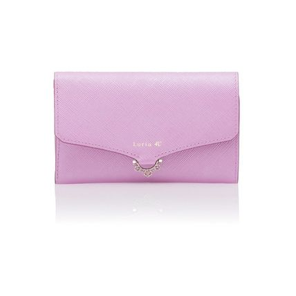 Plain Leather With Jewels Folding Wallet Small Wallet Logo
