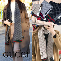 GUCCI Unisex Wool Plain Logo Knit & Fur Scarves